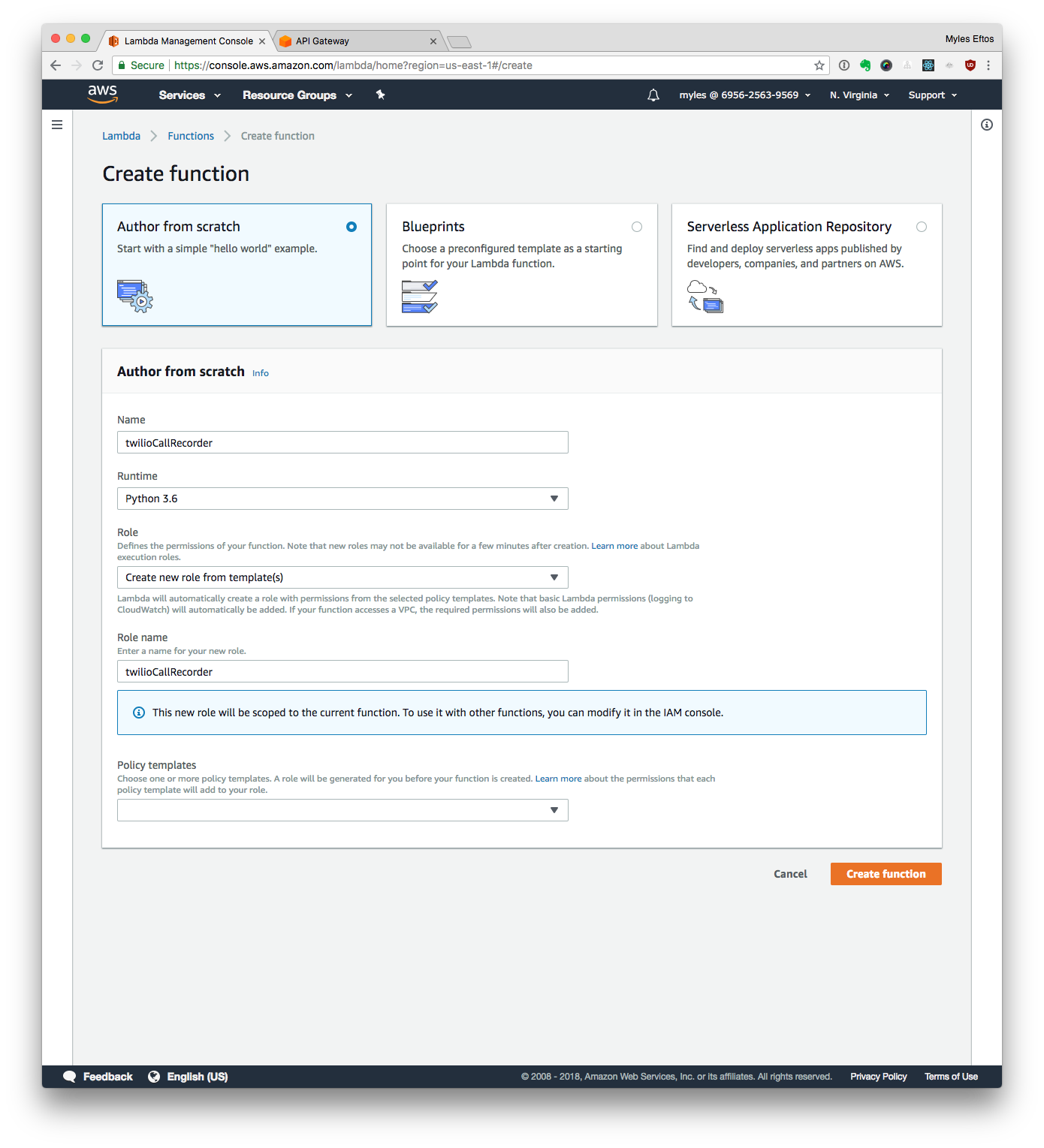 Screen Capture of the AWS Lambda Setup.