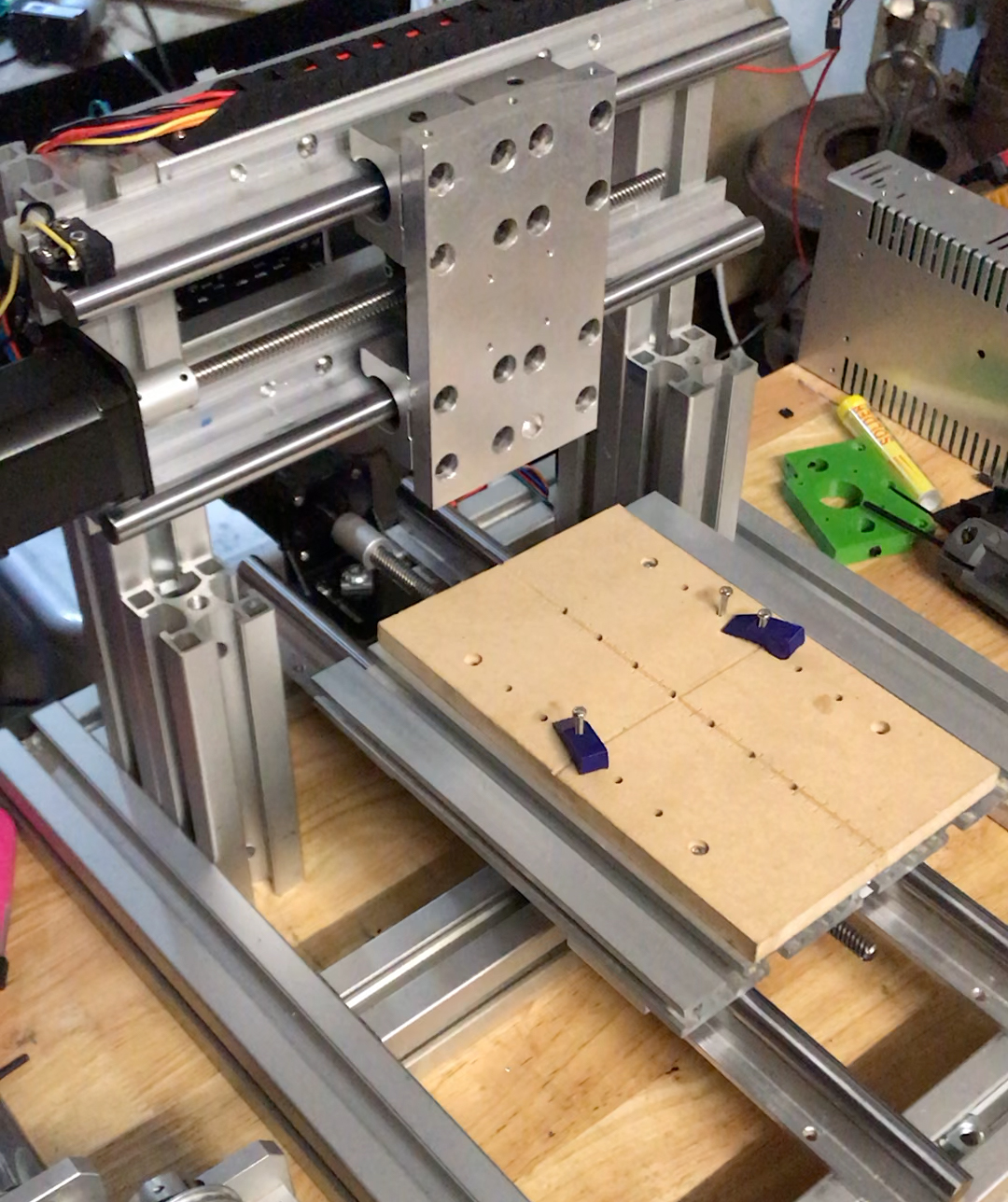 My homemade CNC mill's completed X- and Y- Axes.
